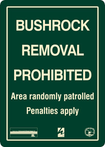 Bushrock removal prohibited sign