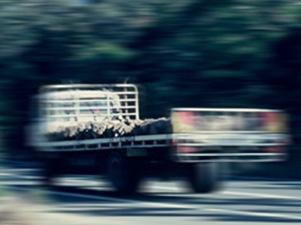 A speeding getaway truck